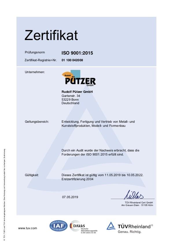 ISO 9001:2015 TÜV Rheinland